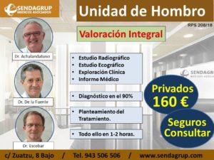 Valoración Integral de las Lesiones y Patología de Hombro, por parte de los miembros de la Unidad de Hombro de Sendagrup, Dres. Achalandabaso, De la Fuente y Escobar, con un precio en oferta para pacientes privados de 160 euros