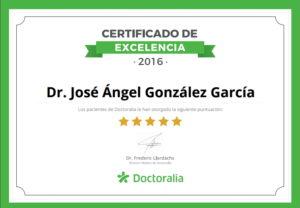Gracias a las valoraciones máximas de los pacientes, Doctoralia otorga al otorrinolaringólogo Dr. González de Sendagrup el Certificado de Excelencia
